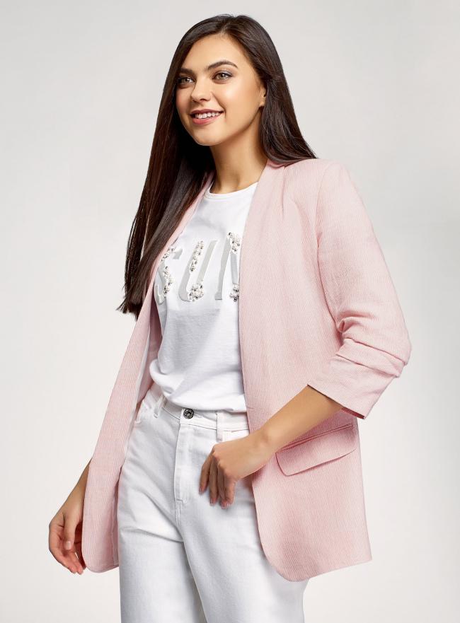 Жакет без застежки с рукавом 3/4 oodji для женщины (розовый), 11207010-11/49961/4012O