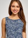 Платье принтованное с бантом на спине oodji #SECTION_NAME# (синий), 11900181/35271/7970F - вид 4