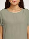 Блузка свободного силуэта с вырезом-капелькой на спине oodji для женщины (зеленый), 11411138-1B/43281/6000N