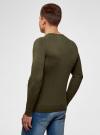 Джемпер базовый с круглым воротом oodji для мужчины (зеленый), 4B112003M/34390N/6600M - вид 3