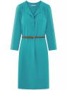 Платье вискозное с ремнем oodji #SECTION_NAME# (зеленый), 11900180B/42540/6C00N