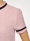 Блузка из струящейся ткани с контрастной отделкой oodji #SECTION_NAME# (розовый), 11401272-1/36215/4129B - вид 5
