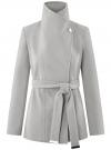 Пальто с поясом и асимметричной застежкой oodji для женщины (серый), 10104041-2/43442/2000M
