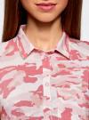 Топ вискозный с нагрудным карманом oodji для женщины (розовый), 11411108B/26346/4041O - вид 4
