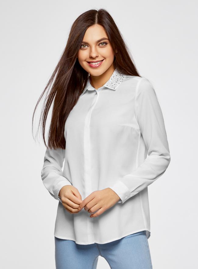 Блузка с декором на воротнике oodji для женщины (белый), 11403172-3/31427/1200N