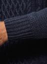Свитер фактурной вязки с молнией на горловине oodji #SECTION_NAME# (синий), 4L305042M/48743N/7900M - вид 5