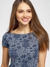 Платье трикотажное с принтом oodji #SECTION_NAME# (синий), 14001117-4/16564/7912G - вид 4