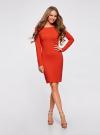 Платье трикотажное облегающего силуэта oodji для женщины (красный), 14001183B/46148/4500N - вид 2