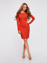 Платье трикотажное облегающего силуэта oodji #SECTION_NAME# (красный), 14001183B/46148/4500N - вид 2