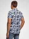 Рубашка принтованная с коротким рукавом oodji #SECTION_NAME# (синий), 3L410144M/48244N/1079G - вид 3