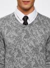Пуловер вязаный с принтом oodji #SECTION_NAME# (серый), 4L212151M/44326N/2329F - вид 4