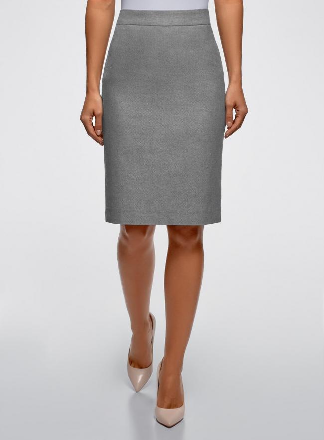 Юбка прямая из фактурной ткани oodji для женщины (серый), 21601254-8/46760/7970M