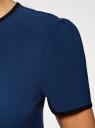 Блузка с коротким рукавом и контрастной отделкой oodji #SECTION_NAME# (синий), 11401254/42405/7900N - вид 5