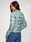 Куртка стеганая с круглым вырезом oodji #SECTION_NAME# (синий), 10203072B/42257/7019F - вид 3