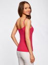 Топ трикотажный на тонких бретелях oodji для женщины (розовый), 14305023-1B/46147/4D00N