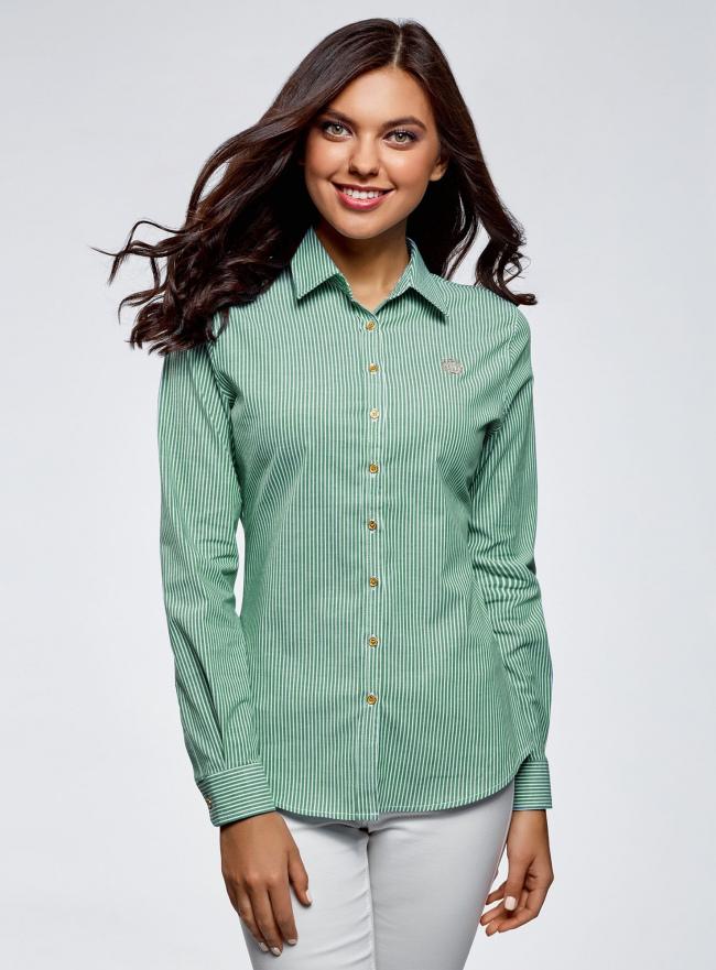 Рубашка хлопковая с вышивкой oodji для женщины (зеленый), 13K11007/45387/6D10S