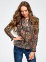 Блузка принтованная с кисточками и резинками oodji #SECTION_NAME# (коричневый), 21411107/17358/3755F - вид 2