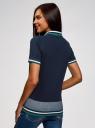 Поло из ткани пике с вышивкой oodji для женщины (синий), 19301011/48446/7900P