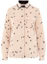 Блузка свободного силуэта из струящейся ткани oodji для женщины (бежевый), 11401282/46123/3329O