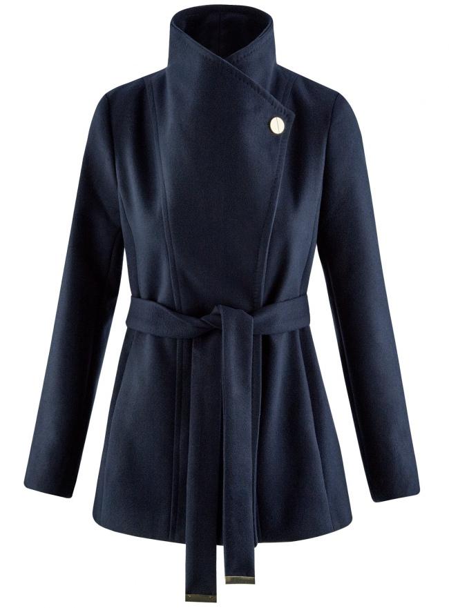 Пальто с поясом и асимметричной застежкой oodji для женщины (синий), 10104041-2/43442/7900N