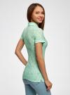 Поло из фактурной ткани с вышивкой oodji для женщины (зеленый), 19301006/46656/6500O - вид 3