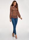 Блузка гофрированная с завязками oodji #SECTION_NAME# (коричневый), 11414005/46166/3957F - вид 6