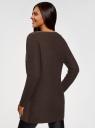 Кардиган комбинированный со вставками из искусственного меха oodji для женщины (коричневый), 63205253/31328/3900N