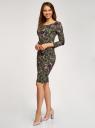Платье трикотажное с вырезом-капелькой на спине oodji #SECTION_NAME# (зеленый), 24001070-5/15640/6641F - вид 6