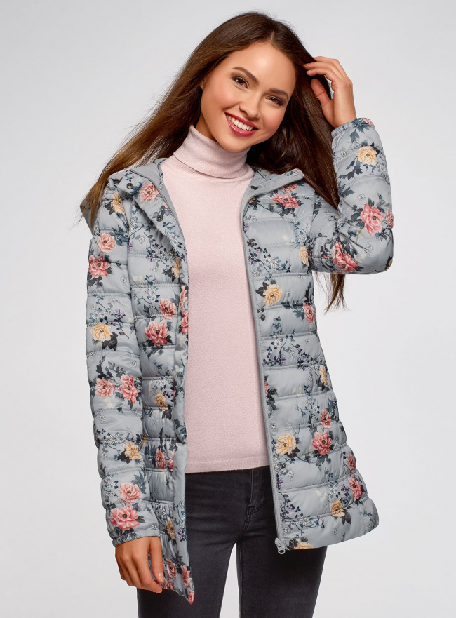 Куртка удлиненная с капюшоном oodji для женщины (серый), 10204058-1B/46708/234BF