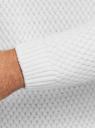 Джемпер ажурной вязки с круглым вырезом oodji #SECTION_NAME# (белый), 4L105066M/25365N/1200N - вид 5