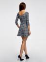 Платье из плотной ткани с принтом oodji #SECTION_NAME# (синий), 14001150-4/33038/1079E - вид 3