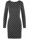 Платье базовое принтованное oodji #SECTION_NAME# (черный), 14011038-2B/37809/2912O