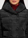 Пальто стеганое с объемным воротником oodji #SECTION_NAME# (черный), 10204049-1B/24771/2900N - вид 4
