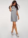 Платье-футболка с принтом и отворотами на рукавах oodji #SECTION_NAME# (серый), 14008020-2/47999/2019Z - вид 6
