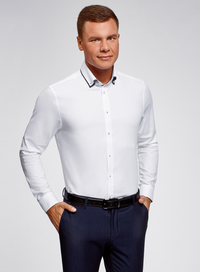 Рубашка хлопковая с контрастной отделкой oodji для мужчины (белый), 3L110332M/48645N/1000O