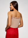 Топ в бельевом стиле с кружевной отделкой oodji для женщины (бежевый), 14911004-1B/45193/4B00N