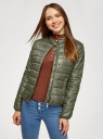 Куртка стеганая с воротником-стойкой oodji для женщины (зеленый), 10203060B/43363/6802N