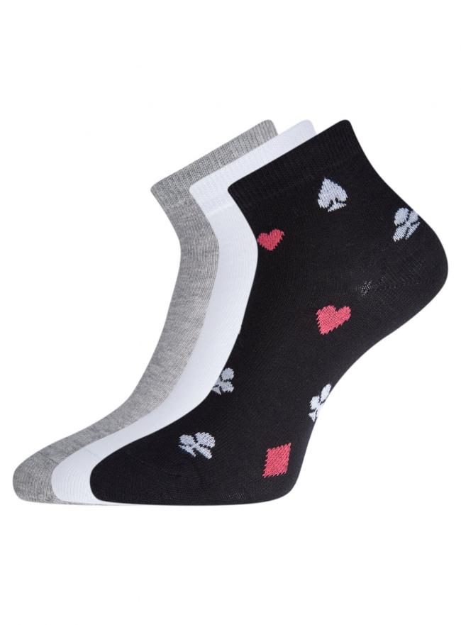 Комплект из трех пар укороченных носков oodji #SECTION_NAME# (разноцветный), 57102418T3/47469/54