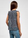 Топ принтованный из легкой ткани oodji для женщины (синий), 11411097/17358/7912F - вид 3