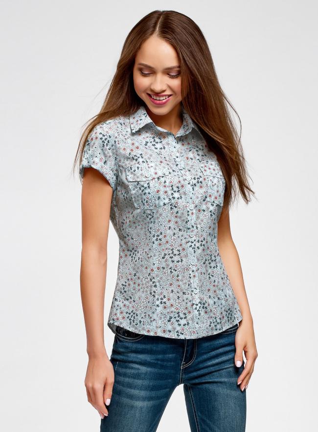 Рубашка из хлопка принтованная oodji #SECTION_NAME# (синий), 11402084-3/12836/7010F