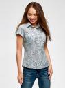 Рубашка из хлопка принтованная oodji #SECTION_NAME# (синий), 11402084-3/12836/7010F - вид 2