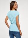 Блузка из вискозы с пояском oodji #SECTION_NAME# (синий), 11400345-5B/48756/7000N - вид 3