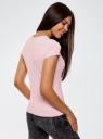 Футболка из эластичной ткани с круглым вырезом oodji для женщины (розовый), 14711003-2B/45297/4000N