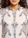Блузка из струящейся ткани с принтом oodji #SECTION_NAME# (слоновая кость), 21411144-3/35542/3039E - вид 4