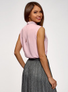 Топ из струящейся ткани с декором на воротнике oodji для женщины (розовый), 14911006-1/43414/4001N - вид 3