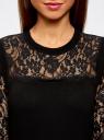 Платье с кружевными рукавами oodji для женщины (черный), 73912206-1/40022/2900N