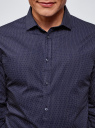 Рубашка приталенная в горошек oodji #SECTION_NAME# (синий), 3B110016M/19370N/7901D - вид 4