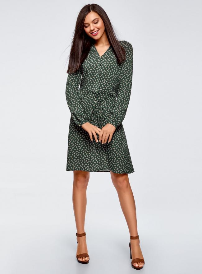 Платье вискозное на кулиске oodji #SECTION_NAME# (зеленый), 11911031/26346/6E57E