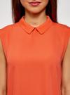 Топ базовый из струящейся ткани oodji #SECTION_NAME# (оранжевый), 14911006-2B/43414/5500N - вид 4