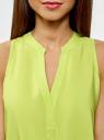 Топ вискозный с V-образным вырезом oodji для женщины (зеленый), 11411105B/39658N/6A00N